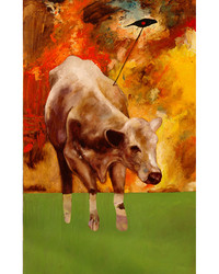 Harpooned Cow with Redwing Blackbird #2, Oil on Canvas, 36 x 60