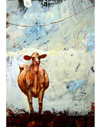 Staring Cow with a Rope, Oil on Canvas, 20 x 28